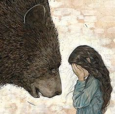 In the morning, the bear said to Snow White, 'I must go now. There are many things I must see to; I dare not neglect them. Thank you for your kindness. One day I hope I may be able to repay you. Art D'ours, Photo D Art, Bear Art, Art Graphique, Children's Book Illustration, Friends Illustration, Art Inspo, Illustrators, Fantasy Art