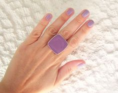 Lilac purple statement ring violet amethyst plum lavender mauve minimal cocktail stainless steel adjustable big chunky modern spring greek