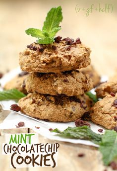 Mint Chocolate Chip Cookies. Low fat and oil free.