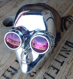 Chrome 'I ROBOT' Inspired Steampunk Masquerade Mask & Goggles Set Combination by jadedminx on Etsy