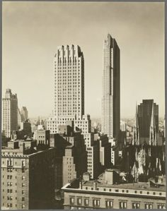 """nemfrog:  """" General View - Manhattan - Aerial view - Fifth Avenue - 50th Street - looking west [St. Patrick's Cathedral - GE Building - Rockefeller Center]  Wurts Bros. n.d.  """""""
