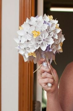 Origami Flower Bridal Bouquet via Etsy $80