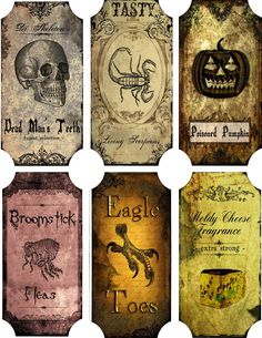 Vintage Inspired Halloween 6 Large Bottle Label Stickers Scrapbooking Crafts | eBay