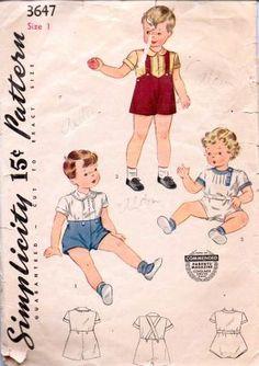Simplicity 3647 Toddlers Romper Set Blouse Shorts Vintage Pattern #1940s #beachwear #blouse #boys #children #seperates #shorts #simplicity #toddler #vintage #patterns #sewing #retro #vintagestitching