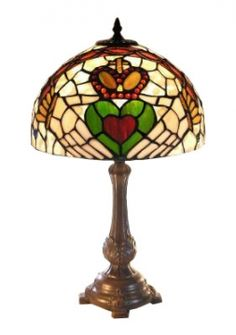 """Our Tiffany-style Claddagh Lamp will add an Irish glow to any room. Stained glass. 13"""" diameter shade on an 18"""" metal base."""
