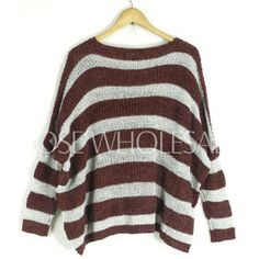 Scoop Neck Striped Long Sleeves Stylish Sweater For Women