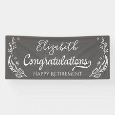 Elegant Monogram Gray Happy Retirement Banner Happy Retirement Banner, Retirement Parties, Outdoor Banners, Elements Of Design, Word Out, Backdrops For Parties, Party Signs, Creative Design, Colorful Backgrounds