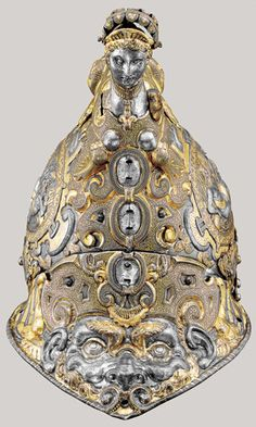Italian, 16th Century, Helmet (Burgonet) from the Garniture Presented by the Duke of Savoy to King Philip III, Milan, c. 1585, etched, embossed, gilt, and gold-damascened steel; silver and fabric, Patrimonio Nacional, Real Armería, Madrid
