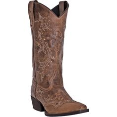 "Laredo Womens Rust Leather Rust Underlay Cross Point 13"""" Cowboy Boots....what i would do to have these gorgeous boots:)"