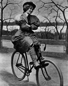 A woman riding a 'scorcher', a Victorian bicycle, in St James' Park, London,1897