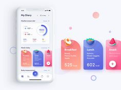 My Diary Page for Fitness App Interaction by Ngoc Dang on Dribbble – Bankgeschäfte Design Web, App Ui Design, Game Design, Dashboard Design, Graphic Design, Flat Design, Design Trends, Application Ui Design, Application Mobile
