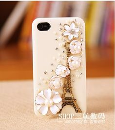 Bling Iphone 5 Case - Protective Skin - Bling - Iphone 5 Cover- Eiffel Tower Ivory