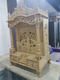 Wooden Temple For Home, Temple Design For Home, Mandir Design, Pooja Room Design, Wooden Screen, Metal Screen, Old Window Screens, Door Design, House Design