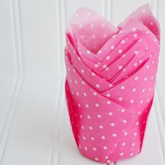 12 Folded Nest Liners - Hot Pink Dots