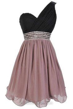 Black Prom Dress, Mini Prom Dresses, Beaded Homecoming Dress, Chiffon Homecoming Dresses, One Shoulder Cocktail Dress