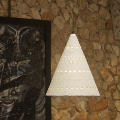 Pixel Funnel Pendant Stone White