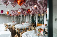 The Bridesmaids Wore Bright Orange at this London Rooftop Wedding Rooftop Party, Rooftop Wedding, Rooftop Garden, Balloon Ceiling, Ceiling Decor, Heart Balloons, Mylar Balloons, Neon Artwork, Colorful Cakes