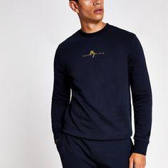 River Island Mens Navy slim fit Maison Riviera sweatshirt (S) Slim Fit Joggers, River Island Mens, Fit S, Collar Shirts, Hoodies, Sweatshirts, Cotton Fabric, Navy, Long Sleeve