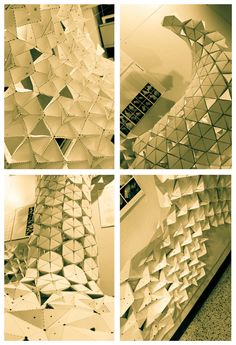 Juney Lee, Kevin Lee, and Nick Polansky make an installation using complex folding / MIT Studio Fall 2010