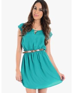 Naughty Or Nice Short Sleeve Belted Cocktail Dress  Teal