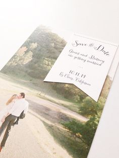 Such a sweet save the date from Paper and Thread. Stitched banner Save the Date. 25 for 87.50