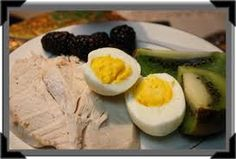 Breakfast Plate for WLS / Gastric Bypass Patients oz white meat roasted turkey hard-cooked egg blackberries large kiwifruit. RDI Vitamin C, RDI Niacin, RDI Calcium. Bariatric Eating, Bariatric Recipes, Bariatric Surgery, Pureed Food Recipes, Cooking Recipes, Healthy Recipes, Breakfast Plate, Low Carb Breakfast, Before And After Weightloss