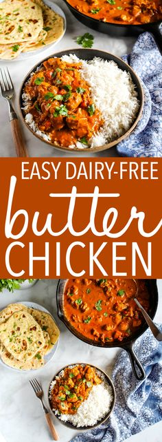 This Easy Dairy-Free Butter Chicken is the perfect Indian-style easy weeknight meal with no dairy! Healthy ingredients & better than take-out! Recipe from thebusybaker.ca! #butterchicken #dairyfree #takeout #restaurant #Indianfood #homemade #healthy #familymeal #weeknightmeal via @busybakerblog Yummy Chicken Recipes, Yum Yum Chicken, Spicy Recipes, Curry Recipes, Indian Food Recipes, Healthy Recipes, Weekly Recipes, Easy Recipes, Easy Weeknight Meals