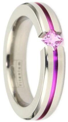 Titanium pink sapphire tension ring by billige-kjoler-til-fest