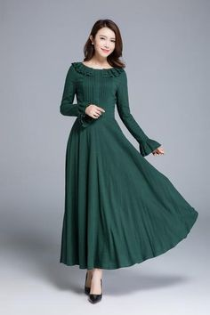 Charming long sleeve maxi dress from xiaolizi handmade studio, craft with soft linen, featuring ruff detailed neckline and cuff, wearing it in a wedding party Kurti Neck Designs, Dress Neck Designs, Indian Designer Outfits, Designer Dresses, Sleeves Designs For Dresses, Dresses With Sleeves, Long Frocks For Girls, Long Dress Design, Frock For Women