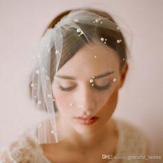 Face Veils Mini Tulle Veil of bride With Pearls Wedding Blusher Short Birdcage Veil with comb Bridal Fascinator veu de noiva(China (Mainland))
