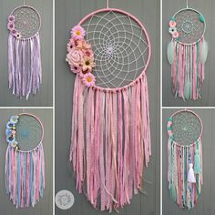Diy Home Crafts, Diy Arts And Crafts, Diy Crafts To Sell, Dream Catcher Decor, Dream Catcher Boho, Paper Flowers Craft, Flower Crafts, Crochet Dreamcatcher Pattern, Dream Catcher Native American
