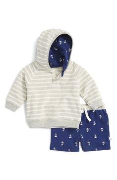 Rosie Pope Stripe Hoodie & Anchor Print Shorts Set (Baby Boys)