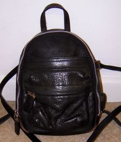 Vintage 90's Black Leather Mini Rucksack Backpack Festival
