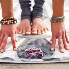 """I like to place #healingcrystals on my mat when I do my daily #yogapractice. I place a couple crystals on the top edge of my mat, and several on the bottom edge. They make me smile when I see them during plank pose. I feel a little more grounded and connected knowing that the energy of #motherearth is close to my feet."" @heather_askinosie  @nikkidalonzo #yogaeverydamnday #yoga #yogalove #yogalife #yogamakesmehappy #layoga"