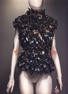 """Alexander McQueen Spring/Summer 2001  Bodice, VOSS Mussel shells   Photographed by Sølve Sundsbø for Alexander McQueen: Savage Beauty   """"It needs to connect with the earth. Things that are processed and reprocessed lose their substance."""""""