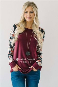 Wine Floral Sleeve Sweater