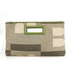Bally Gray Hues B Signature Canvas Green Leather Zipper Top Clutch Bag Handbag