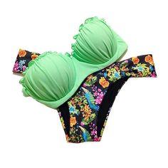 DELEY Donne Push Up Bandeau Sexy Elegante Estate Spiaggia Bikini A Triangolo Costume Bagno Beachwear: EURO 12,99