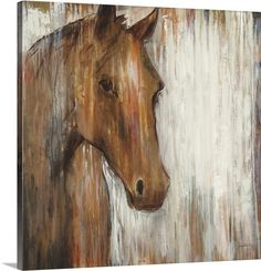 Horse painted on rustic white washed wood.