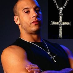 The Fast and the Furious Celebrity Vin Diesel Item Crystal Jesus Cross Pendant Necklace Gift for Hard Men , Vin Diesel, Dominic Toretto,Cross Necklace ,Fast and Furious