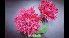 DIY - Paper Dahlia flower from crepe paper-Flor Dahlia de papel crepé- H...