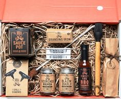 Branded & Grilled BBQ Grill Master's Gift Box A Chef Driven Collection of Gourmet Sauces and Dry Rub Seasonings For Grilling & Essential Tools For Branding A Personalized Steak or Any Cut of Meat Camping Gift Baskets, Gift Baskets For Men, Chef Gift Basket, Bbq Gifts, Grilling Gifts, Party Gifts, Easy Diy Christmas Gifts, Christmas Gift Baskets, Christmas Things
