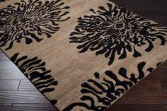 Bombay rug, hand carved pattern in hard twist New Zealand wool. Shown in taupe and charcoal, available in 5 colors  BST-496: Surya | Rugs, Pillows, Art, Accent Furniture