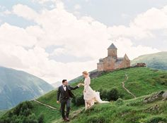 epic mountains are the perfect setting for an outdoor wedding portrait.