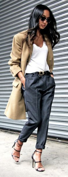 Cropped menswear inspired trousers, casual tucked in white tee, khaki jacket, strappy sandals