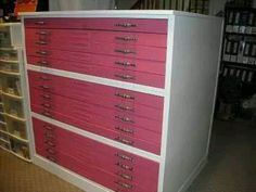 Restored map cabinet to store rubber stamps