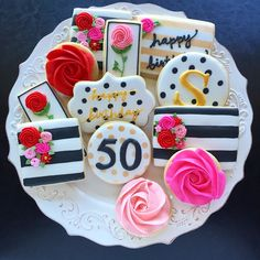 """167 Likes, 15 Comments - Sherrene Toews (@sherrene_t) on Instagram: """"Pretty cookies for a very pretty lady! Happy 50th Sherri! #abbotsford #customcookies…"""""""