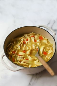 Old-Fashioned Chicken Noodle Soup via www.thegourmetRD.com. Part of my Simple Soups Cookbook, this old-fashioned, thick noodle chicken noodle soup is just like your grandma's. #thegourmetRD #healthysoups #healthysouprecipes #souprecipes #chickennoodlesoup