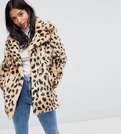 ASOS PETITE Faux Fur Coat in Leopard - Multi