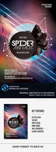 Spider Abstract Futuristic Flyer Design — Photoshop PSD #smart #abstract • Available here → https://graphicriver.net/item/spider-abstract-futuristic-flyer-design/11392244?ref=pxcr